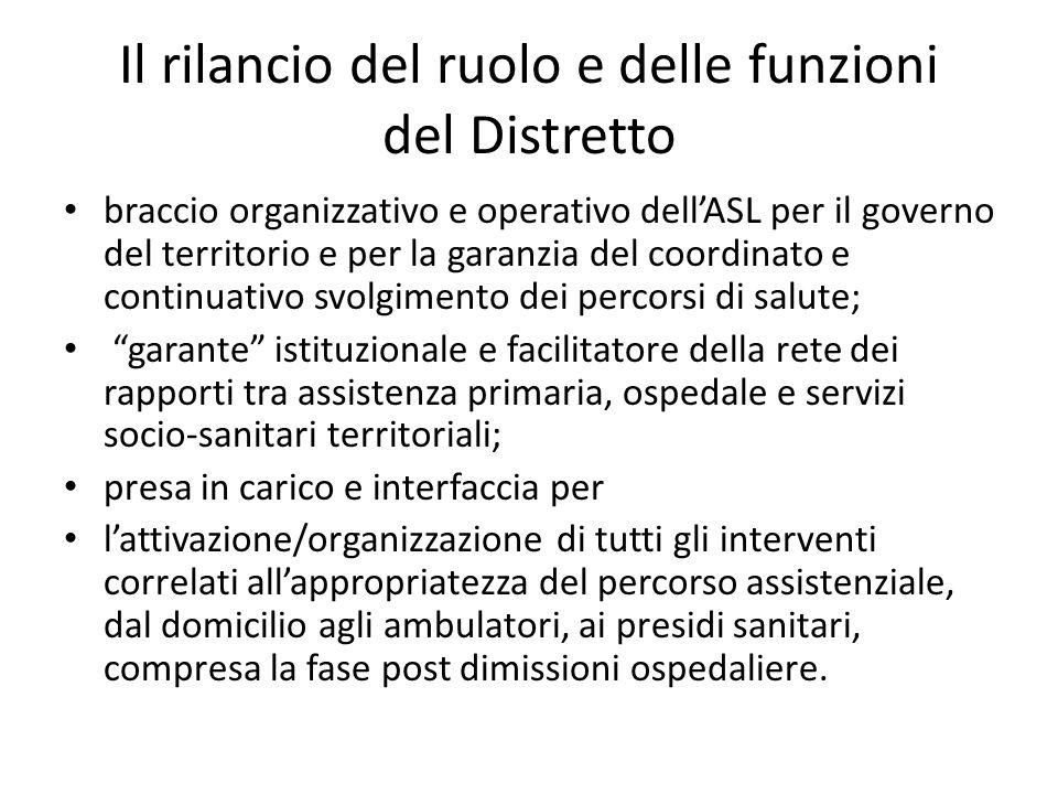 Il rilancio del ruolo e delle funzioni del Distretto braccio organizzativo e operativo dell'ASL per il governo del territorio e per la garanzia del co