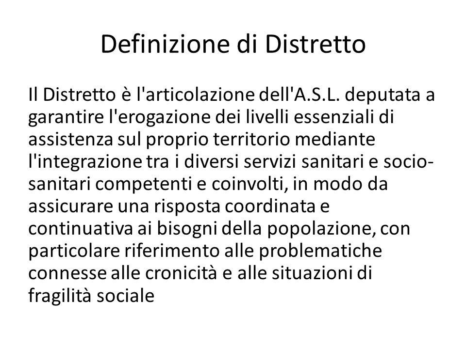 Definizione di Distretto Il Distretto è l'articolazione dell'A.S.L. deputata a garantire l'erogazione dei livelli essenziali di assistenza sul proprio