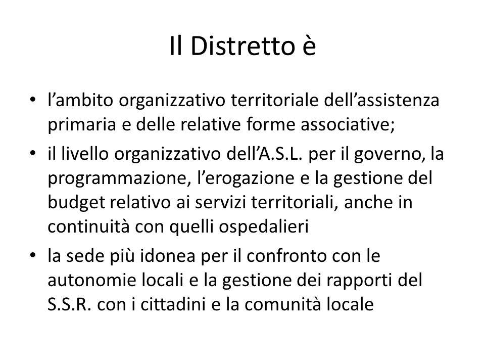 Il Distretto è l'ambito organizzativo territoriale dell'assistenza primaria e delle relative forme associative; il livello organizzativo dell'A.S.L. p