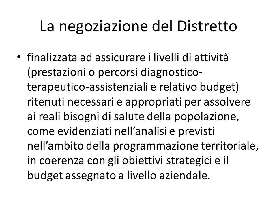 La negoziazione del Distretto finalizzata ad assicurare i livelli di attività (prestazioni o percorsi diagnostico- terapeutico-assistenziali e relativ
