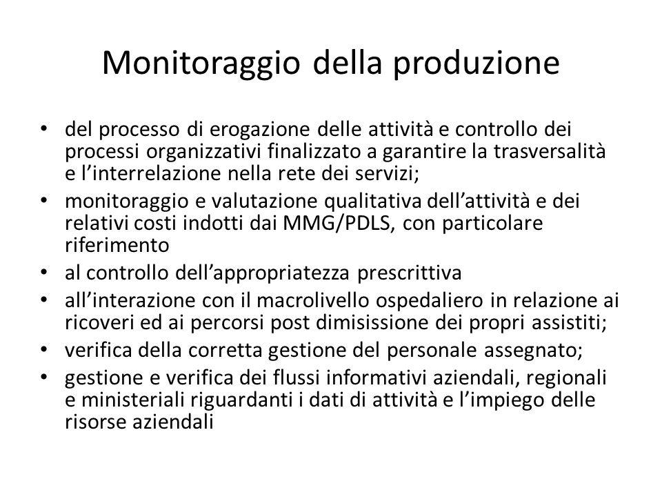 Monitoraggio della produzione del processo di erogazione delle attività e controllo dei processi organizzativi finalizzato a garantire la trasversalit