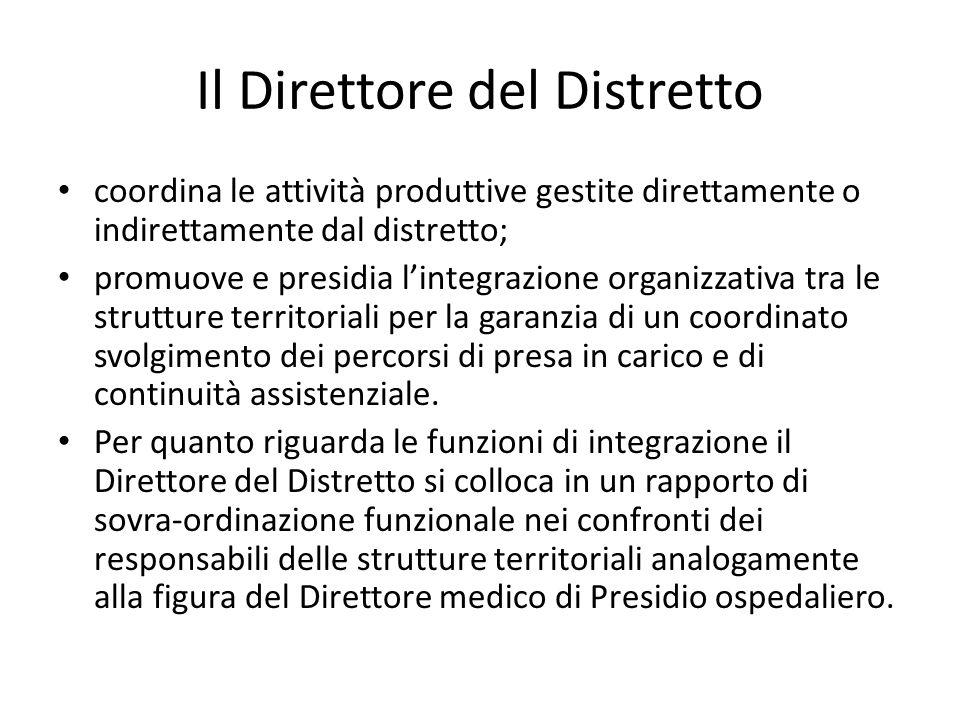 Il Direttore del Distretto coordina le attività produttive gestite direttamente o indirettamente dal distretto; promuove e presidia l'integrazione org