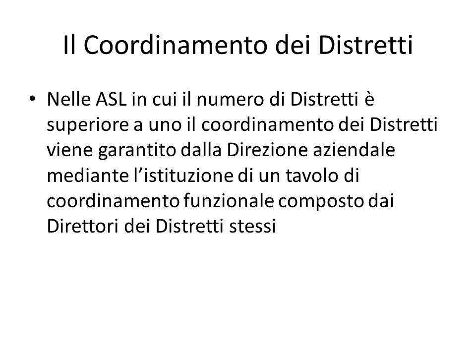 Il Coordinamento dei Distretti Nelle ASL in cui il numero di Distretti è superiore a uno il coordinamento dei Distretti viene garantito dalla Direzion