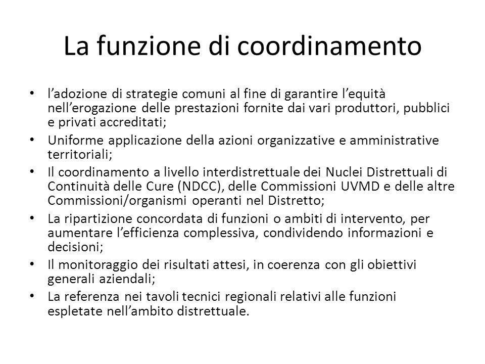 La funzione di coordinamento l'adozione di strategie comuni al fine di garantire l'equità nell'erogazione delle prestazioni fornite dai vari produttor
