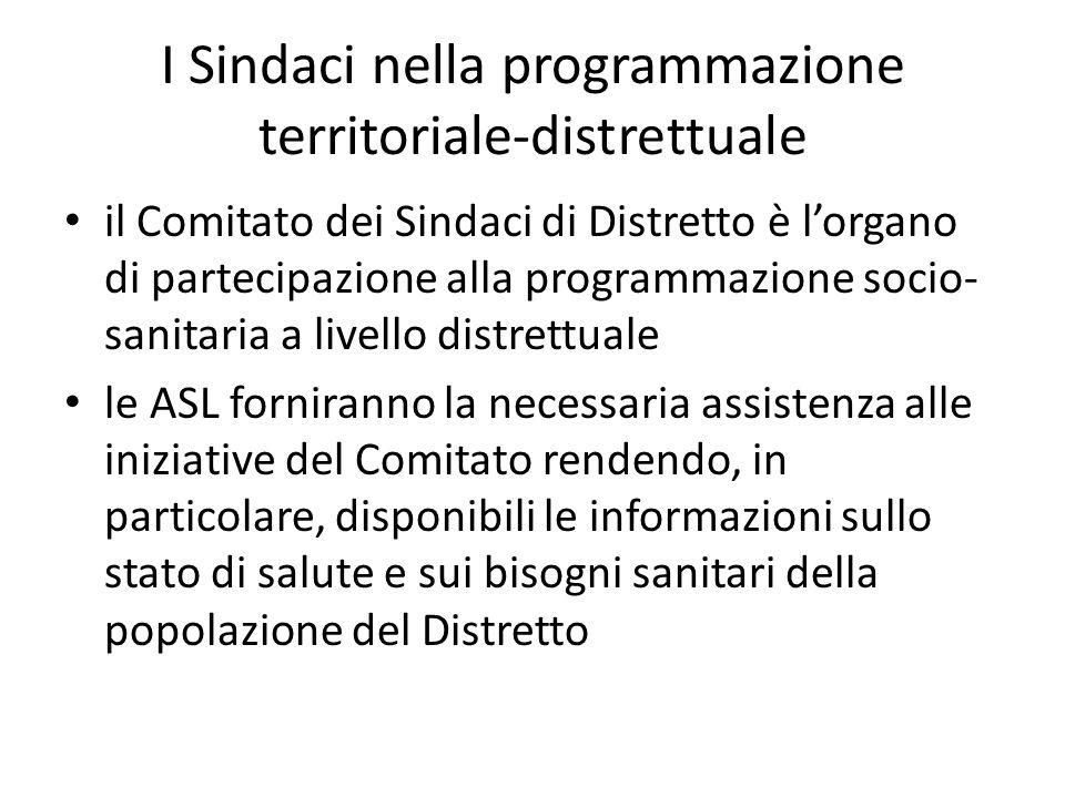 il Comitato dei Sindaci di Distretto è l'organo di partecipazione alla programmazione socio- sanitaria a livello distrettuale le ASL forniranno la nec