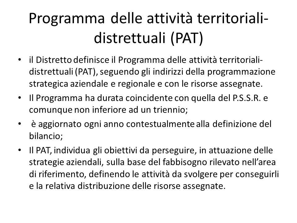 Programma delle attività territoriali- distrettuali (PAT) il Distretto definisce il Programma delle attività territoriali- distrettuali (PAT), seguend
