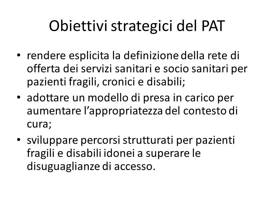 Obiettivi strategici del PAT rendere esplicita la definizione della rete di offerta dei servizi sanitari e socio sanitari per pazienti fragili, cronic
