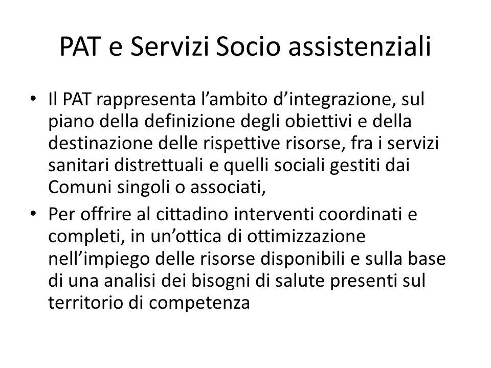PAT e Servizi Socio assistenziali Il PAT rappresenta l'ambito d'integrazione, sul piano della definizione degli obiettivi e della destinazione delle r