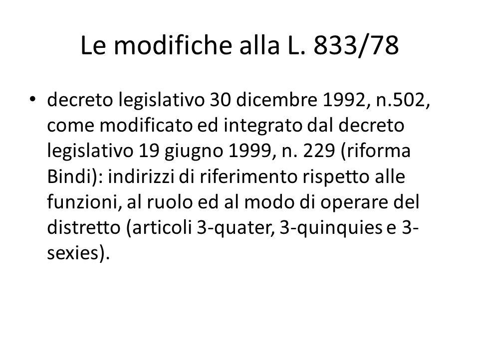 Le modifiche alla L. 833/78 decreto legislativo 30 dicembre 1992, n.502, come modificato ed integrato dal decreto legislativo 19 giugno 1999, n. 229 (
