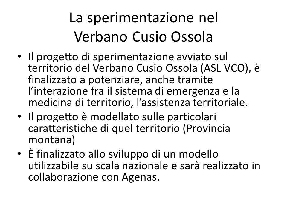 La sperimentazione nel Verbano Cusio Ossola Il progetto di sperimentazione avviato sul territorio del Verbano Cusio Ossola (ASL VCO), è finalizzato a