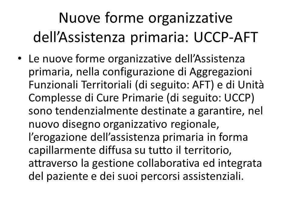 Nuove forme organizzative dell'Assistenza primaria: UCCP-AFT Le nuove forme organizzative dell'Assistenza primaria, nella configurazione di Aggregazio