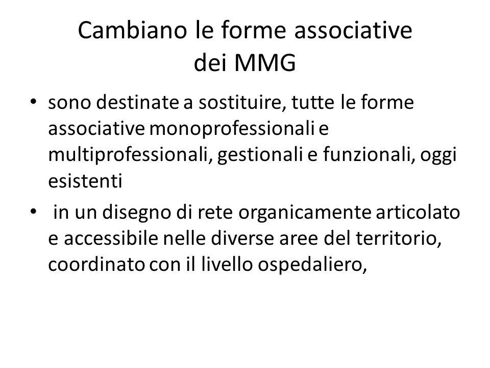 Cambiano le forme associative dei MMG sono destinate a sostituire, tutte le forme associative monoprofessionali e multiprofessionali, gestionali e fun