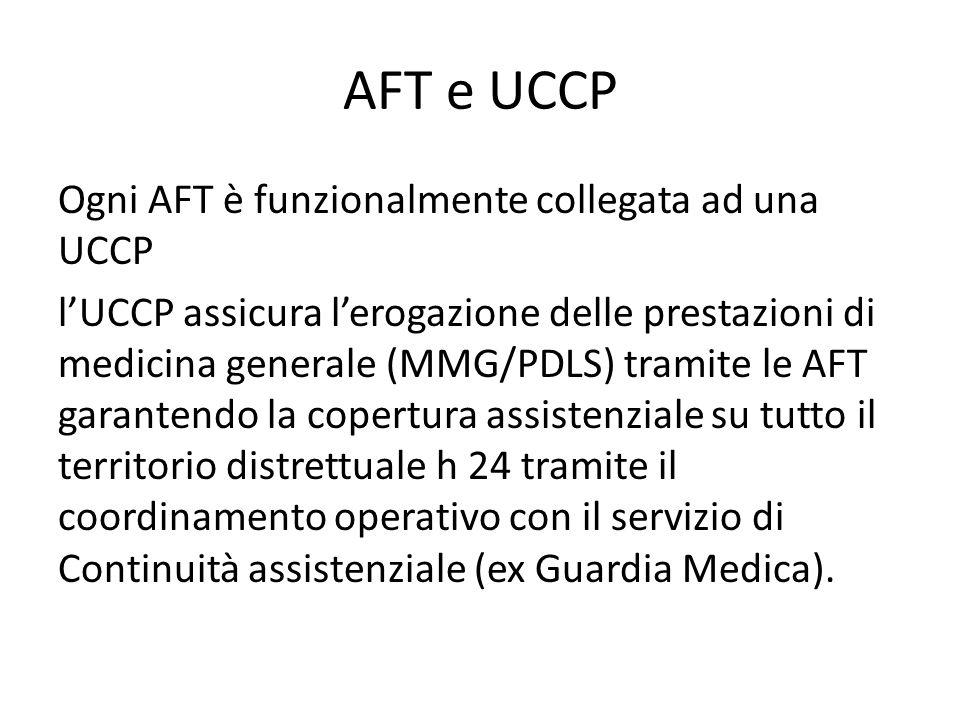 AFT e UCCP Ogni AFT è funzionalmente collegata ad una UCCP l'UCCP assicura l'erogazione delle prestazioni di medicina generale (MMG/PDLS) tramite le A