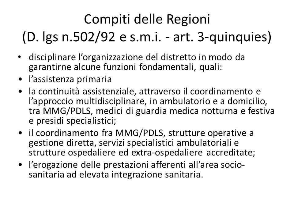 Compiti delle Regioni (D. lgs n.502/92 e s.m.i. - art. 3-quinquies) disciplinare l'organizzazione del distretto in modo da garantirne alcune funzioni