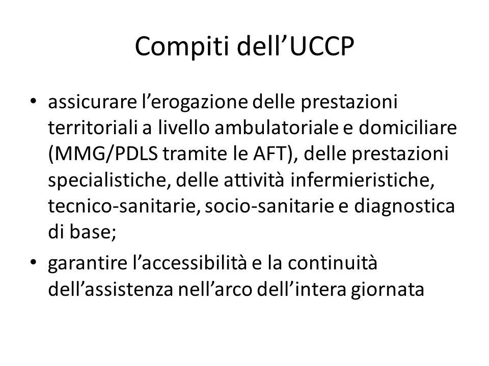 Compiti dell'UCCP assicurare l'erogazione delle prestazioni territoriali a livello ambulatoriale e domiciliare (MMG/PDLS tramite le AFT), delle presta