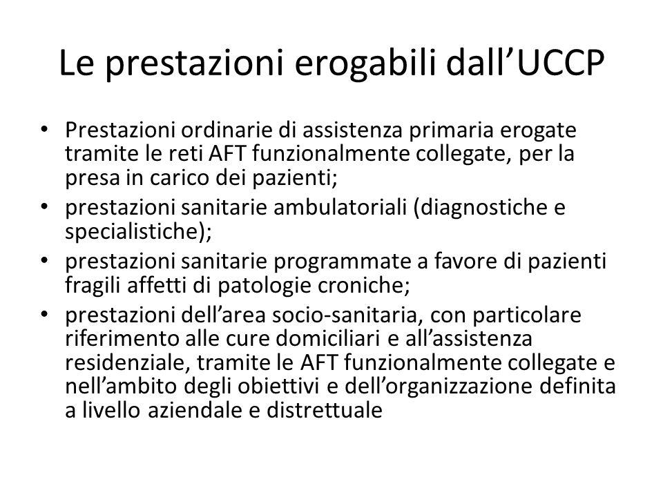 Le prestazioni erogabili dall'UCCP Prestazioni ordinarie di assistenza primaria erogate tramite le reti AFT funzionalmente collegate, per la presa in