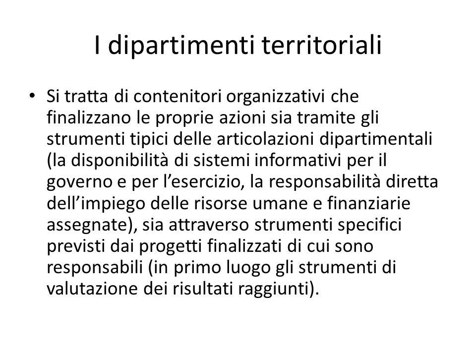 I dipartimenti territoriali Si tratta di contenitori organizzativi che finalizzano le proprie azioni sia tramite gli strumenti tipici delle articolazi