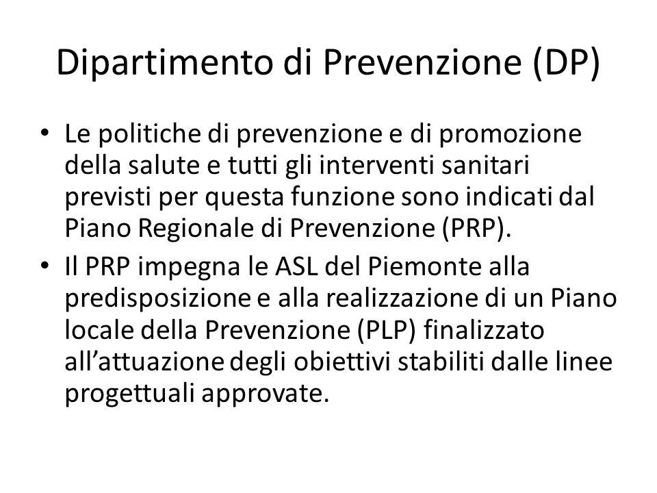 Dipartimento di Prevenzione (DP) Le politiche di prevenzione e di promozione della salute e tutti gli interventi sanitari previsti per questa funzione
