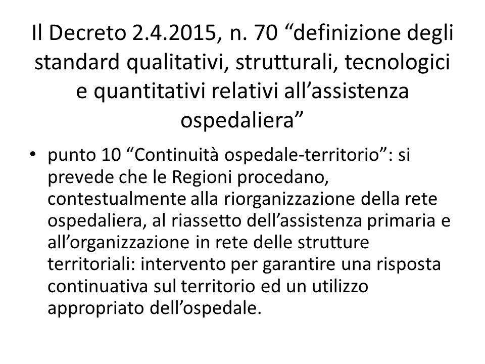 """Il Decreto 2.4.2015, n. 70 """"definizione degli standard qualitativi, strutturali, tecnologici e quantitativi relativi all'assistenza ospedaliera"""" punto"""