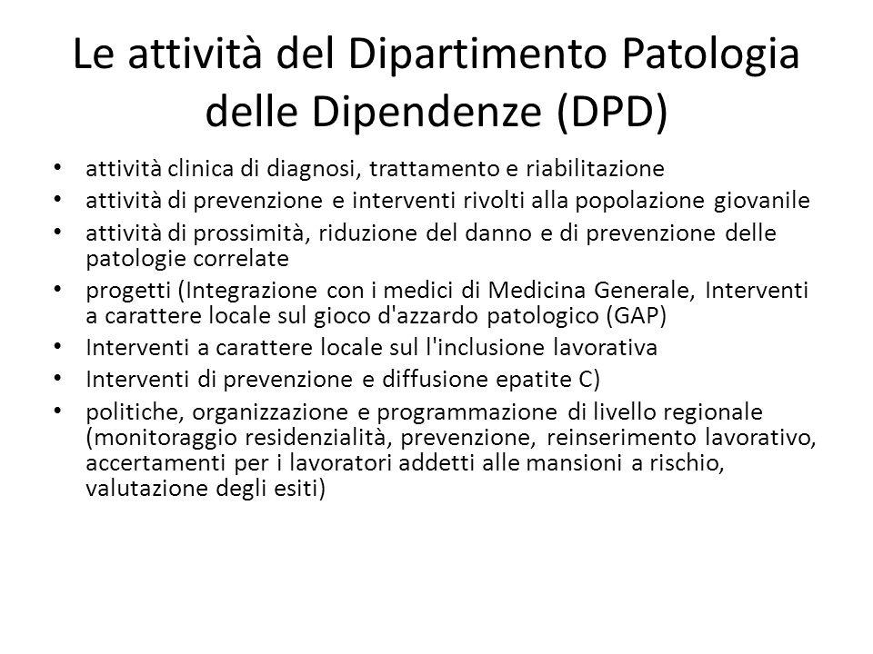 Le attività del Dipartimento Patologia delle Dipendenze (DPD) attività clinica di diagnosi, trattamento e riabilitazione attività di prevenzione e int