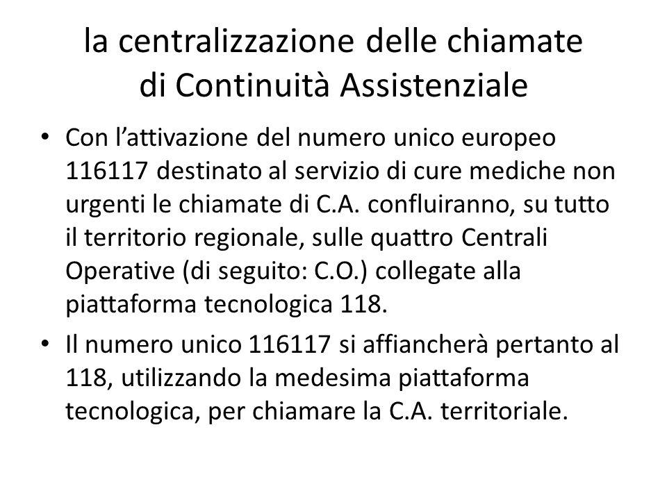 la centralizzazione delle chiamate di Continuità Assistenziale Con l'attivazione del numero unico europeo 116117 destinato al servizio di cure mediche