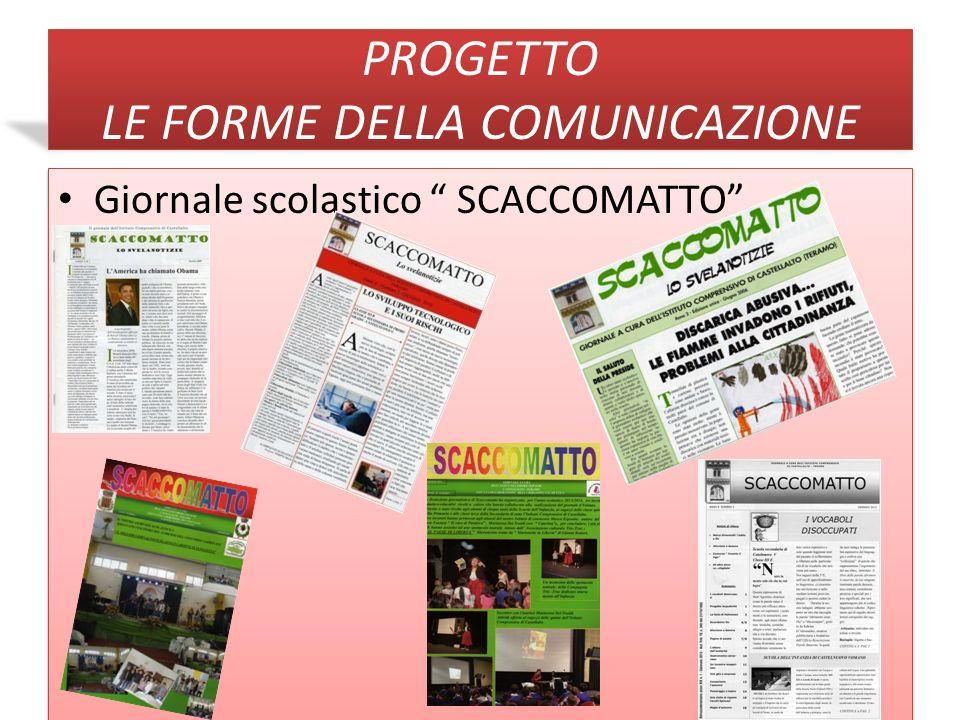 Monitoraggio Progetti Pof 2012/2013 Progetto: Le Forme della Comunicazione ( Il giornale scolastico SCACCOMATTO ) Gli indicatori o Tutti gli alunni delle classi finali di ogni ordine e grado.