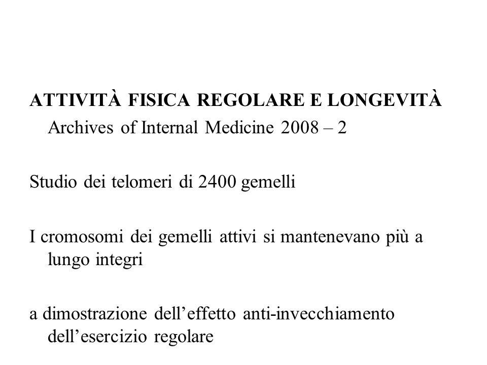 ATTIVITÀ FISICA REGOLARE E LONGEVITÀ Archives of Internal Medicine 2008 – 2 Studio dei telomeri di 2400 gemelli I cromosomi dei gemelli attivi si mantenevano più a lungo integri a dimostrazione dell'effetto anti-invecchiamento dell'esercizio regolare