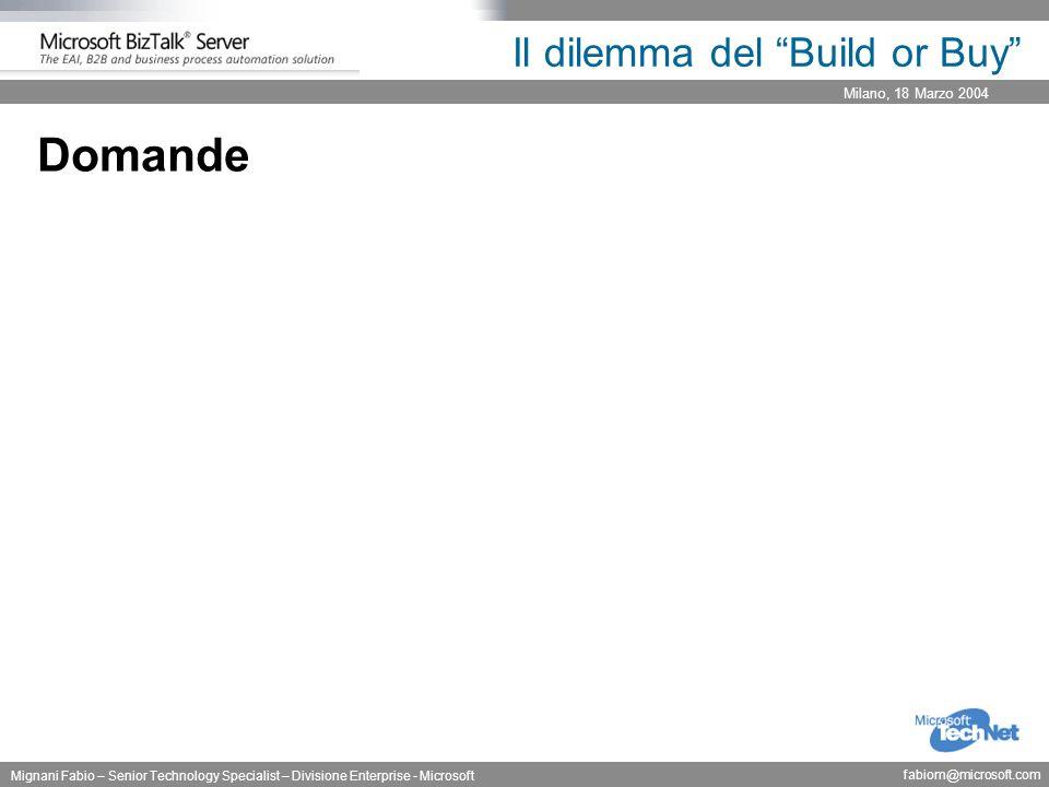 Milano, 18 Marzo 2004 Mignani Fabio – Senior Technology Specialist – Divisione Enterprise - Microsoft fabiom@microsoft.com Il dilemma del Build or Buy Domande