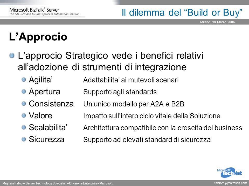 """Milano, 18 Marzo 2004 Mignani Fabio – Senior Technology Specialist – Divisione Enterprise - Microsoft fabiom@microsoft.com Il dilemma del """"Build or Bu"""