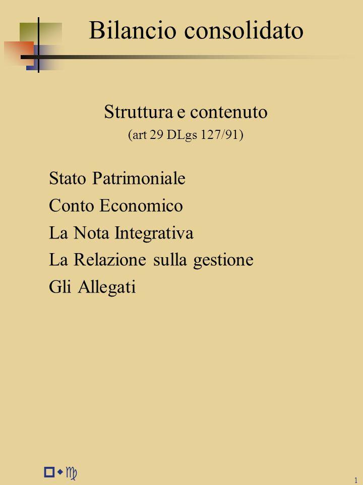 pwc 1 Bilancio consolidato Struttura e contenuto (art 29 DLgs 127/91) Stato Patrimoniale Conto Economico La Nota Integrativa La Relazione sulla gestio