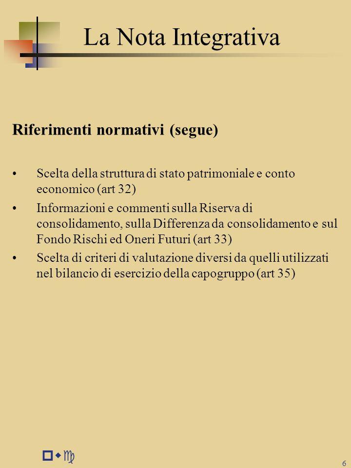 pwc 6 La Nota Integrativa Riferimenti normativi (segue) Scelta della struttura di stato patrimoniale e conto economico (art 32) Informazioni e comment