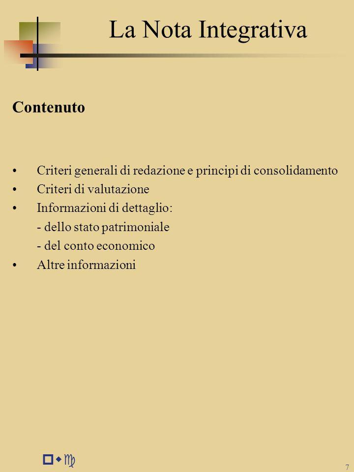 pwc 7 La Nota Integrativa Contenuto Criteri generali di redazione e principi di consolidamento Criteri di valutazione Informazioni di dettaglio: - del