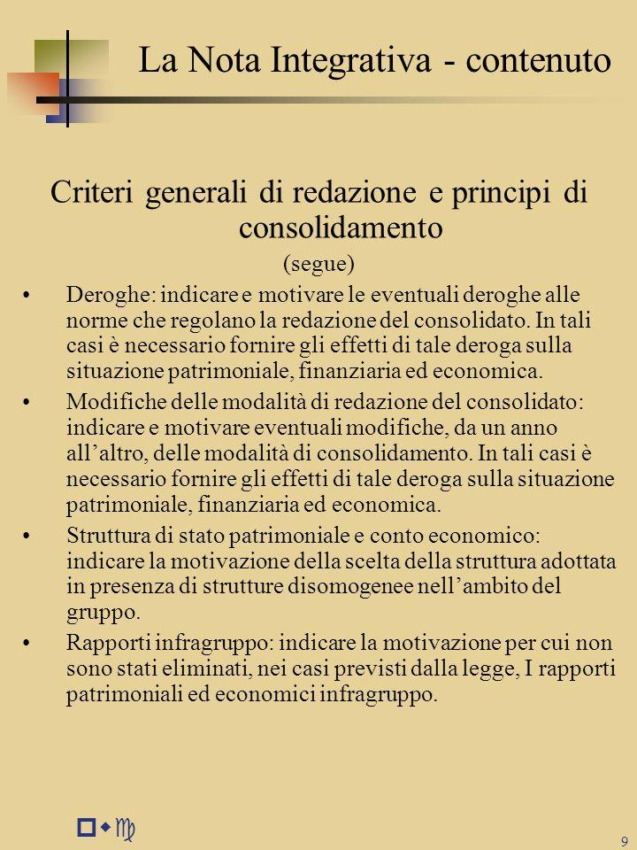 pwc 9 La Nota Integrativa - contenuto Criteri generali di redazione e principi di consolidamento (segue) Deroghe: indicare e motivare le eventuali der