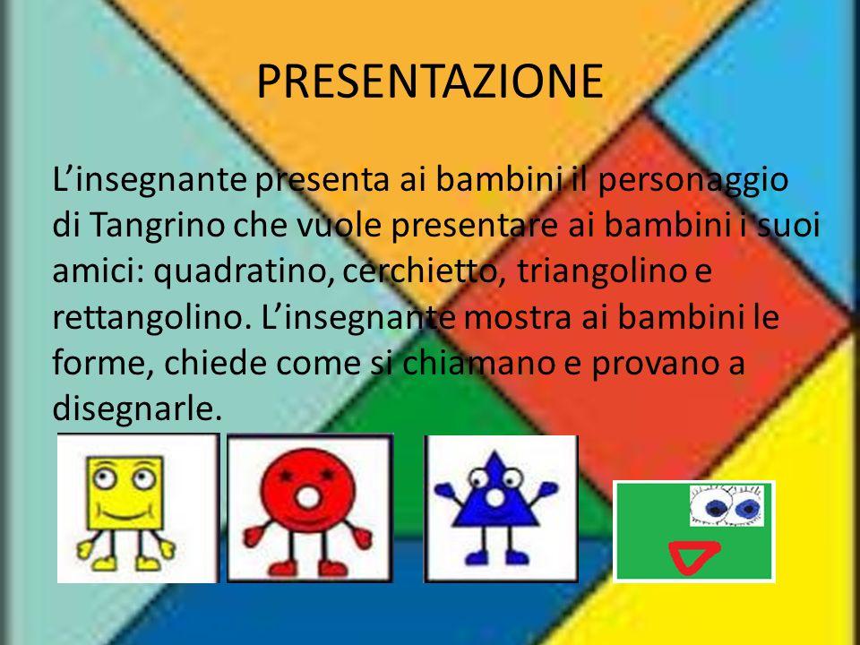 PRESENTAZIONE L'insegnante presenta ai bambini il personaggio di Tangrino che vuole presentare ai bambini i suoi amici: quadratino, cerchietto, triang