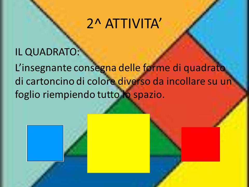 2^ ATTIVITA' IL QUADRATO: L'insegnante consegna delle forme di quadrato di cartoncino di colore diverso da incollare su un foglio riempiendo tutto lo