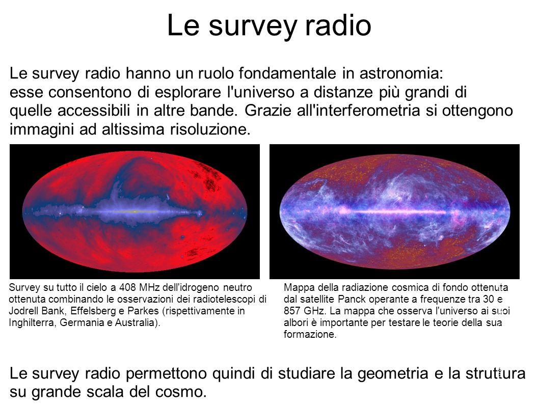 Le survey radio Le survey radio hanno un ruolo fondamentale in astronomia: esse consentono di esplorare l universo a distanze più grandi di quelle accessibili in altre bande.