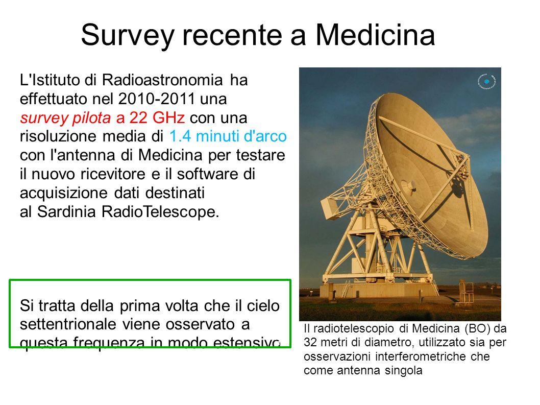 Survey recente a Medicina L Istituto di Radioastronomia ha effettuato nel 2010-2011 una survey pilota a 22 GHz con una risoluzione media di 1.4 minuti d arco con l antenna di Medicina per testare il nuovo ricevitore e il software di acquisizione dati destinati al Sardinia RadioTelescope.