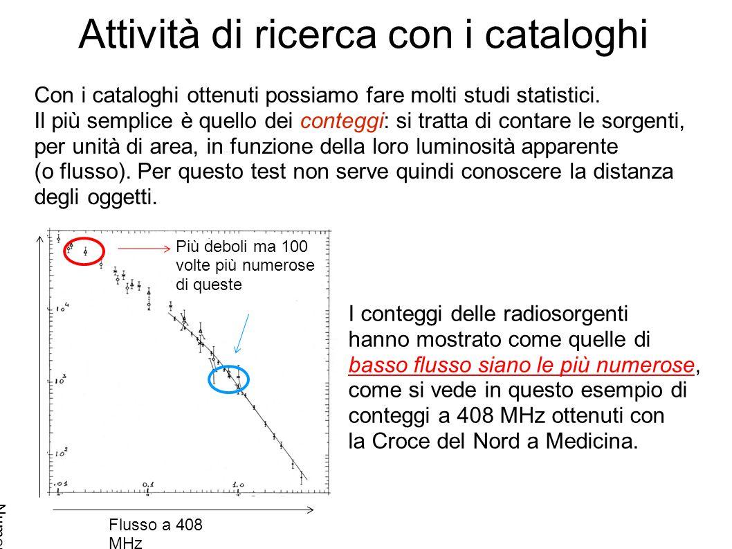 Attività di ricerca con i cataloghi Con i cataloghi ottenuti possiamo fare molti studi statistici.