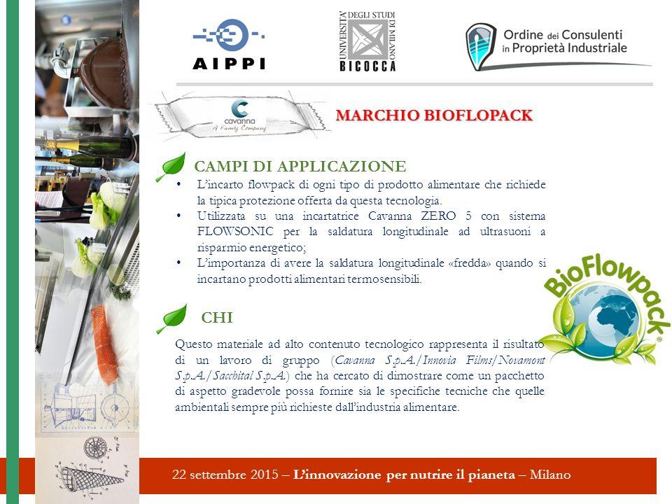22 settembre 2015 – L'innovazione per nutrire il pianeta – Milano MARCHIO BIOFLOPACK CAMPI DI APPLICAZIONE L'incarto flowpack di ogni tipo di prodotto alimentare che richiede la tipica protezione offerta da questa tecnologia.