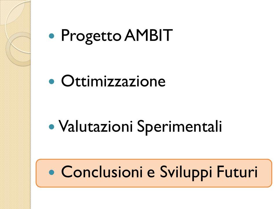 Progetto AMBIT Ottimizzazione Valutazioni Sperimentali Conclusioni e Sviluppi Futuri