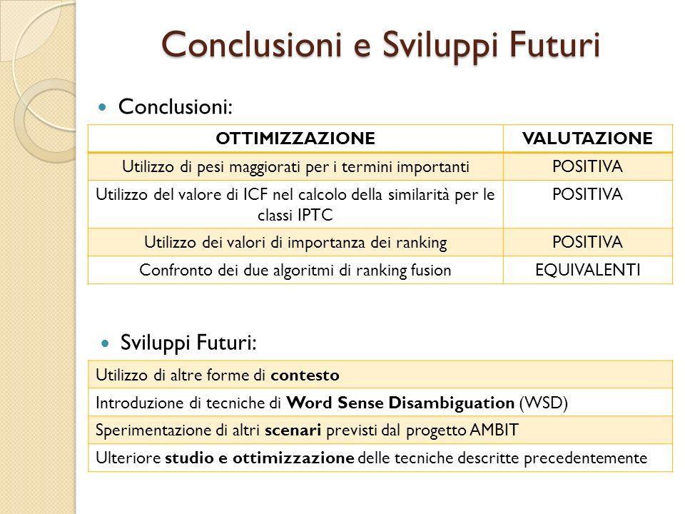OTTIMIZZAZIONEVALUTAZIONE Utilizzo di pesi maggiorati per i termini importantiPOSITIVA Utilizzo del valore di ICF nel calcolo della similarità per le classi IPTC POSITIVA Utilizzo dei valori di importanza dei rankingPOSITIVA Confronto dei due algoritmi di ranking fusionEQUIVALENTI Conclusioni: Sviluppi Futuri: Utilizzo di altre forme di contesto Introduzione di tecniche di Word Sense Disambiguation (WSD) Sperimentazione di altri scenari previsti dal progetto AMBIT Ulteriore studio e ottimizzazione delle tecniche descritte precedentemente