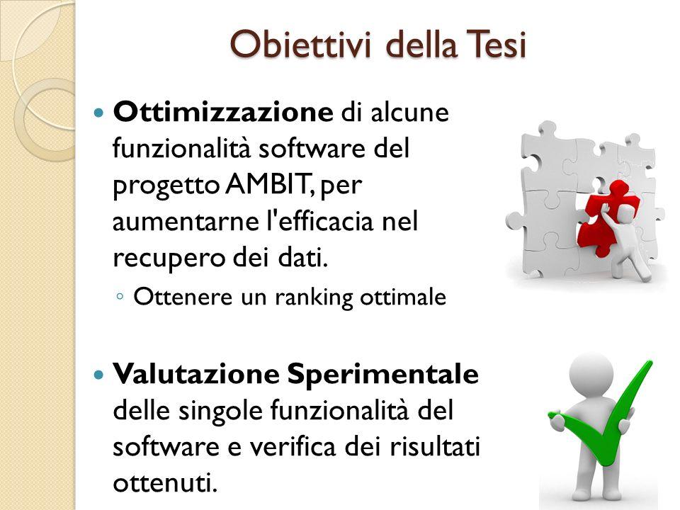 Obiettivi della Tesi Ottimizzazione di alcune funzionalità software del progetto AMBIT, per aumentarne l'efficacia nel recupero dei dati. ◦ Ottenere u