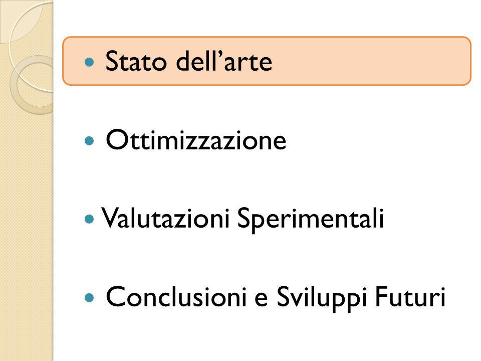 Stato dell'arte Ottimizzazione Valutazioni Sperimentali Conclusioni e Sviluppi Futuri