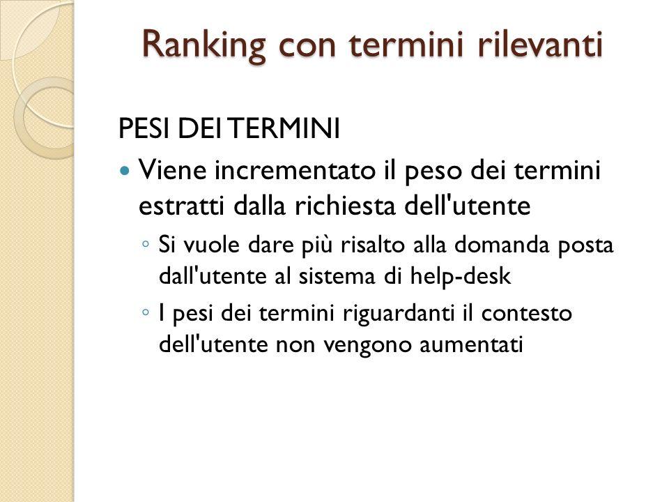 Ranking con termini rilevanti PESI DEI TERMINI Viene incrementato il peso dei termini estratti dalla richiesta dell'utente ◦ Si vuole dare più risalto