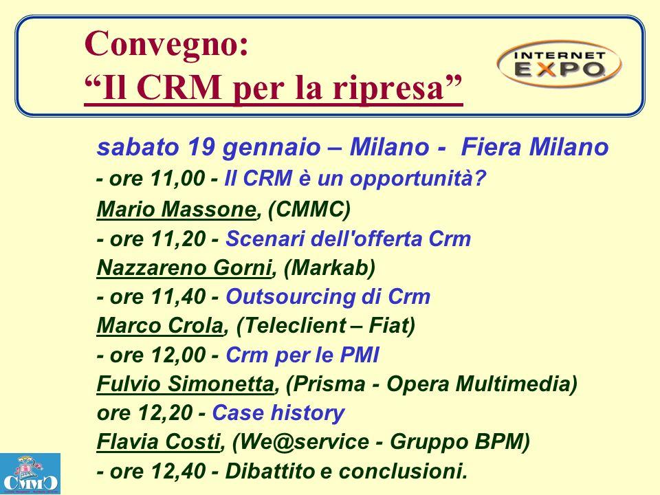 Convegno: Il CRM per la ripresa sabato 19 gennaio – Milano - Fiera Milano - ore 11,00 - Il CRM è un opportunità.