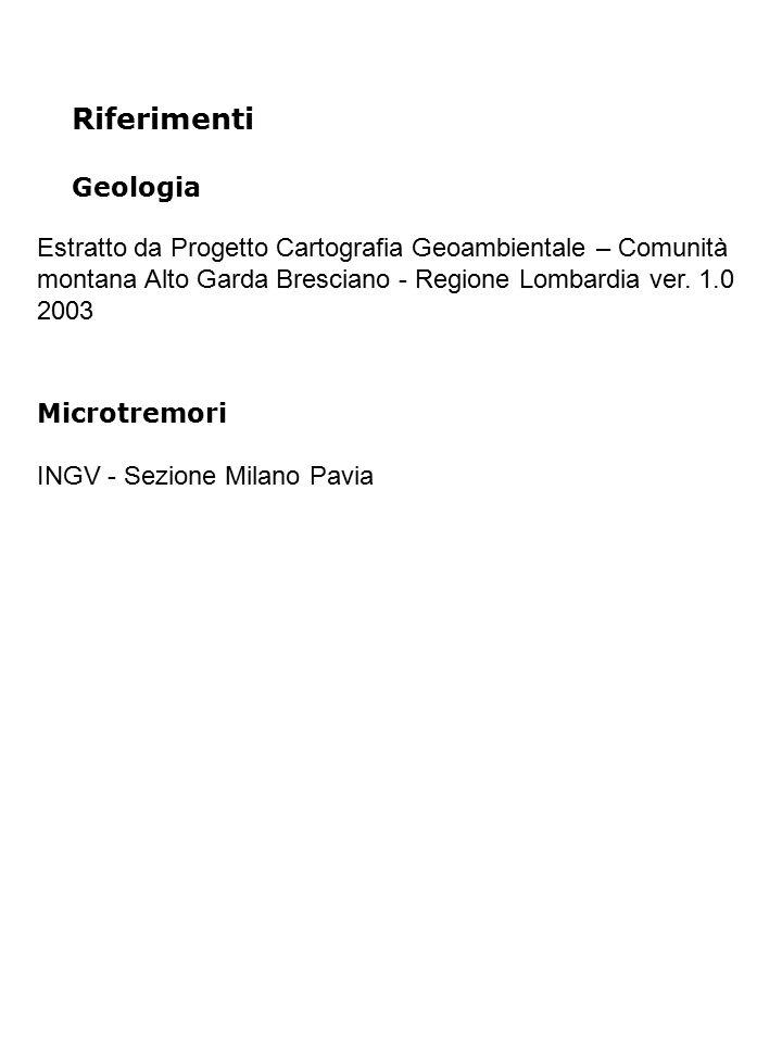 Riferimenti Geologia Estratto da Progetto Cartografia Geoambientale – Comunità montana Alto Garda Bresciano - Regione Lombardia ver. 1.0 2003 Microtre