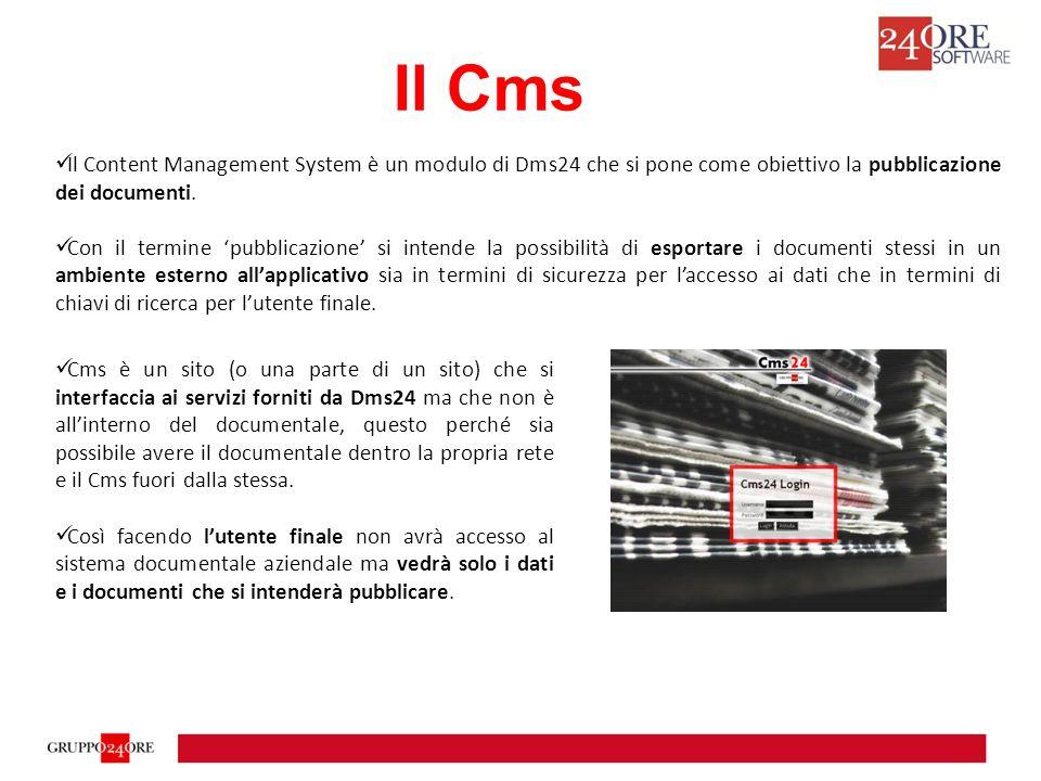 Per questo motivo Cms non ha gli utenti di Dms24 ma possiede un'anagrafica propria al fine di fornire anche un servizio di sottopubblicazione dei contenuti all'anagrafica degli utenti del Cms e creando dei raggruppamenti di pagine (tecnicamente si chiamano Pages Groups) cui vengono definiti a tutti gli effetti i criteri di ricerca in Dms24.