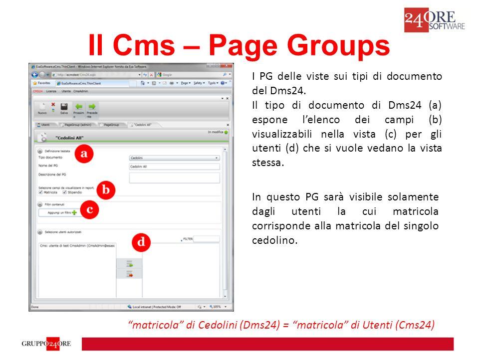 Il Cms – Page Groups I PG delle viste sui tipi di documento del Dms24.