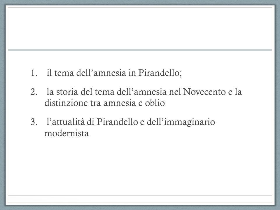 1. il tema dell'amnesia in Pirandello; 2. la storia del tema dell'amnesia nel Novecento e la distinzione tra amnesia e oblio 3. l'attualità di Pirande