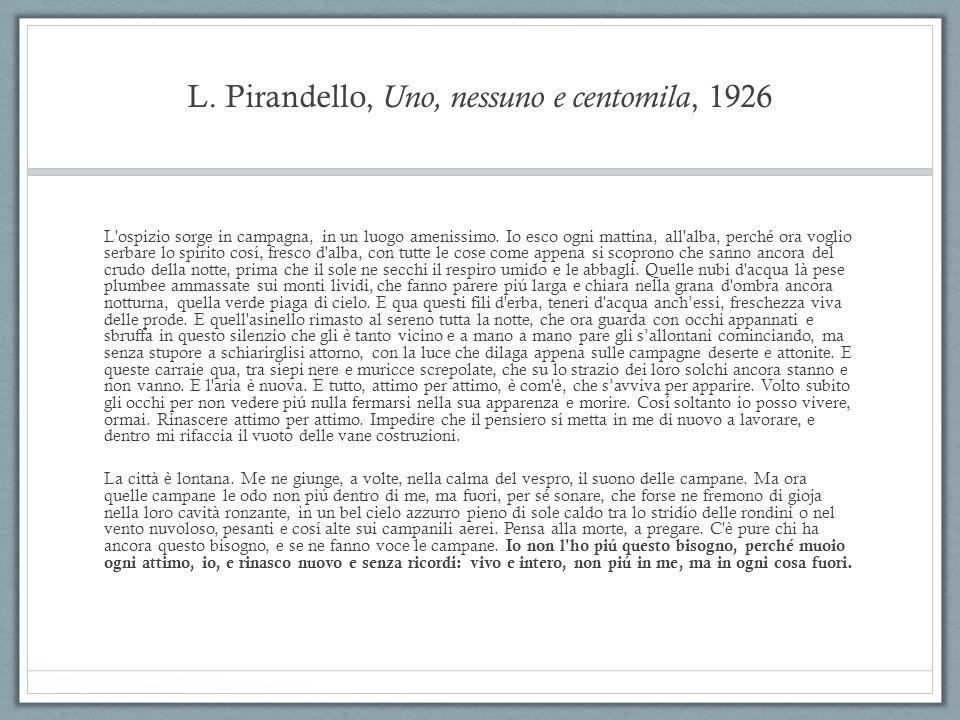 L. Pirandello, Uno, nessuno e centomila, 1926 L'ospizio sorge in campagna, in un luogo amenissimo. Io esco ogni mattina, all'alba, perché ora voglio s